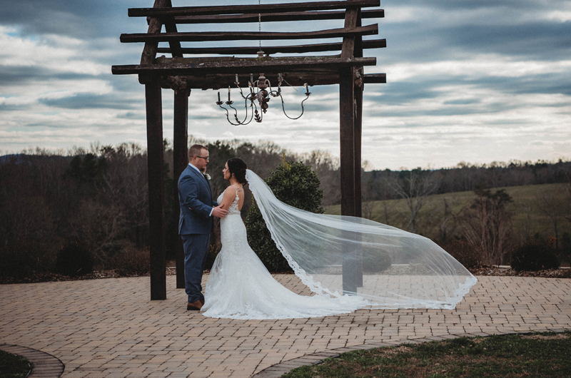Howe Farms, bride and groom, winter wedding, amazing skies