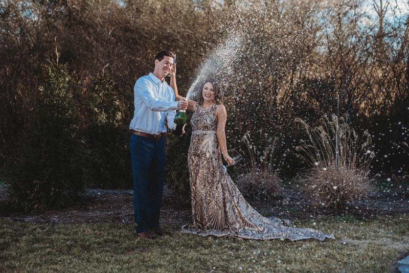 gold dress, champagne pop, storytelling images, engagement celebration