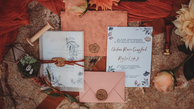 Ring shots, The Venue at Lilly Lou's, wedding day, invitations, flowers, wax seal