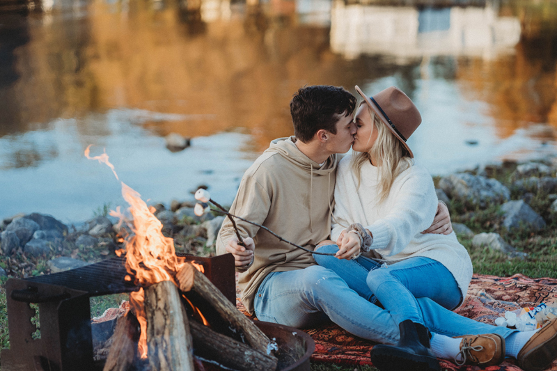 Engagement session, Harrison Bay State Park, storytelling images, smores, fall