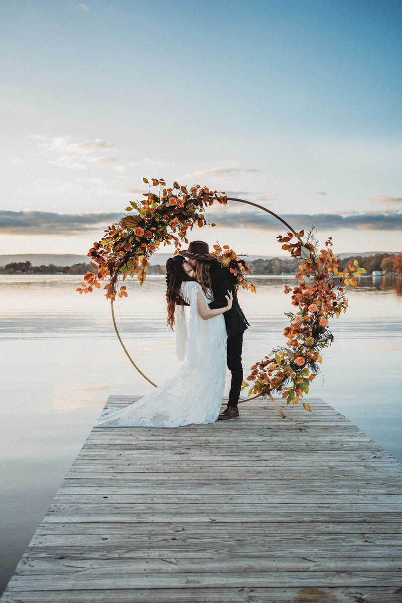 Boho vibes, fall wedding, bride and groom