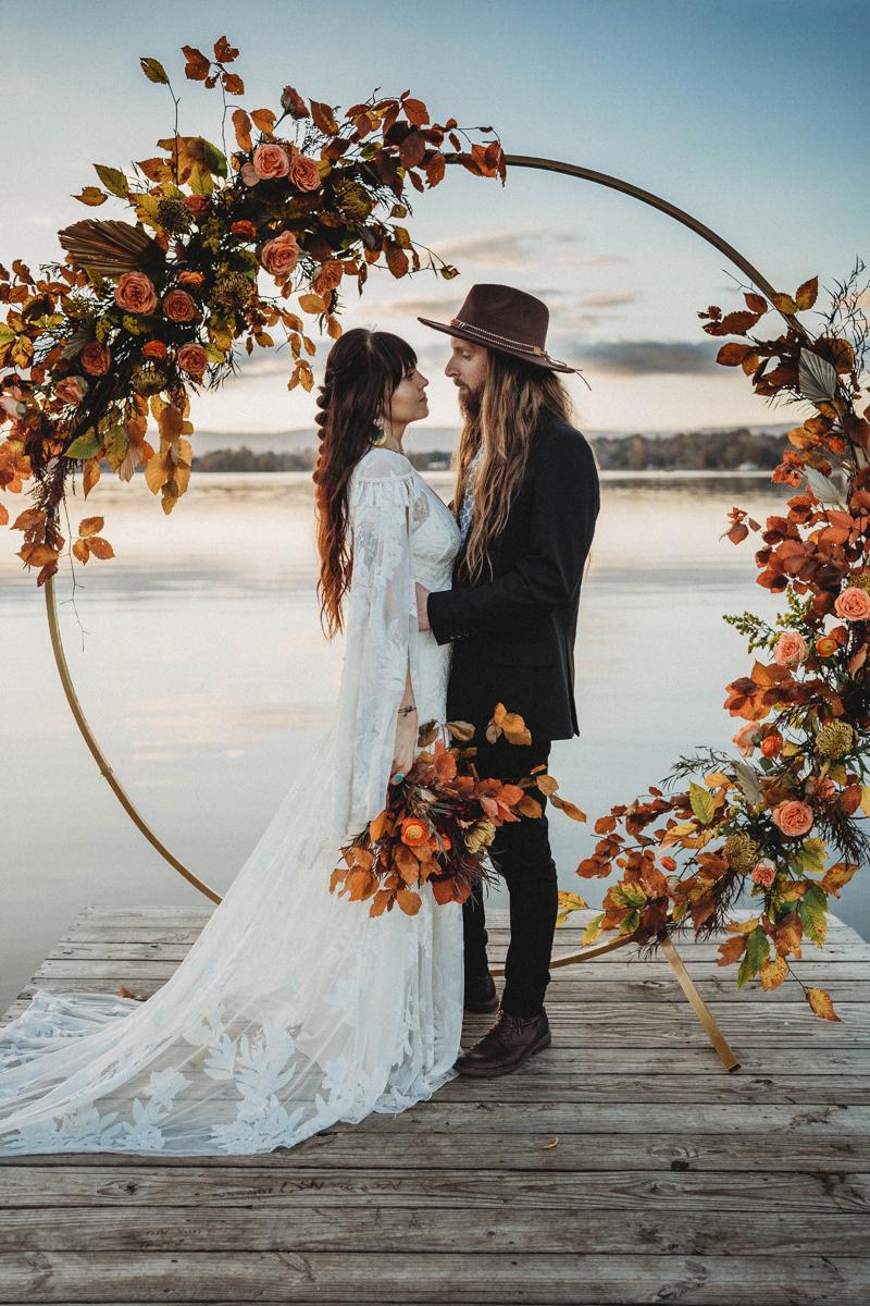Boho vibes, fall wedding, bride and groom, celebration, boho wedding dress, fall colors