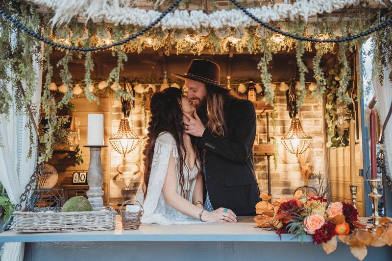 Mobile Bar, Bride and Groom, Boho Vibes, fall wedding