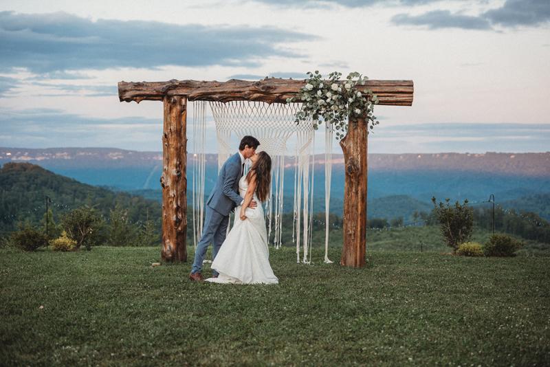 Coal City Bluff, mountain views, Chattanooga TN, bride and groom, macrame, sunset, wedding