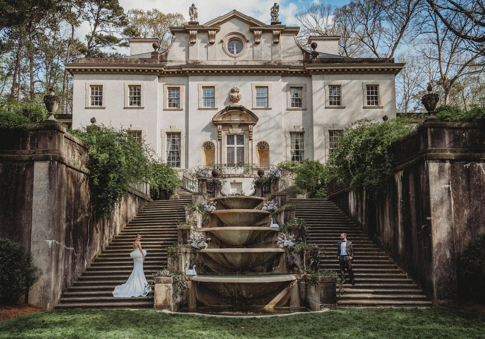 Wedding, Swan House, Atlanta GA, Bride and Groom