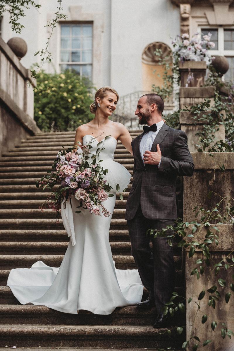 Wedding, Swan House, Atlanta GA, Bride and Groom, historic district